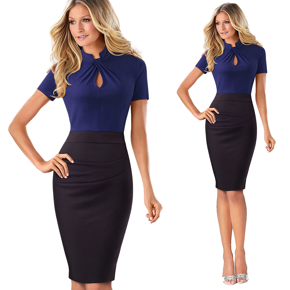 Elegant Work Office Business Drapped Contrasting Bodycon Slim Pencil Lady Dress Women Sexy Front Key Hole Summer Dress EB430 12