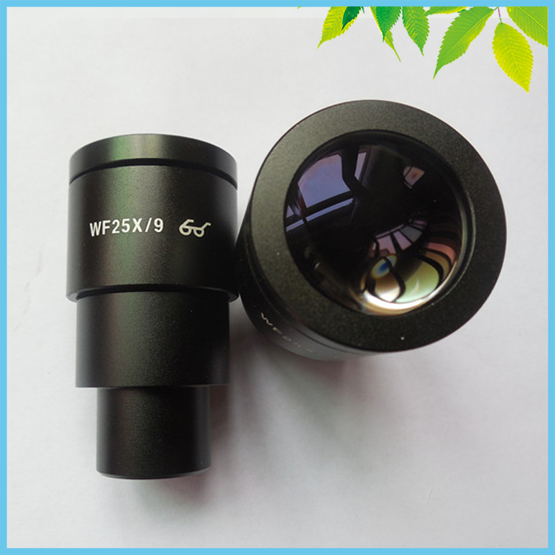 2 PCS WF25X 9mm Wide Angle Eyepiece High Eye Point Wide Feild Eyepiece for Stereo Microscope with Mounting Size 30mm