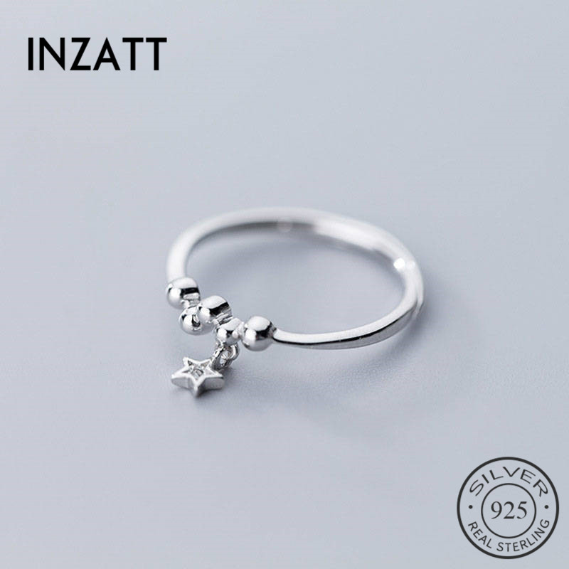 INZATT Real 925 Sterling Silver Pendant Zircon Star Ring For Fashion Women Minimalist Cute Fine Jewelry Accessories 2019 Gift