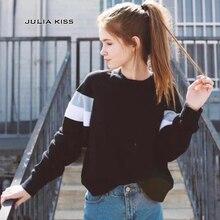 Для женщин Повседневное мягкий пуловер в полоску с длинными рукавами Толстовка с V-шов на шее