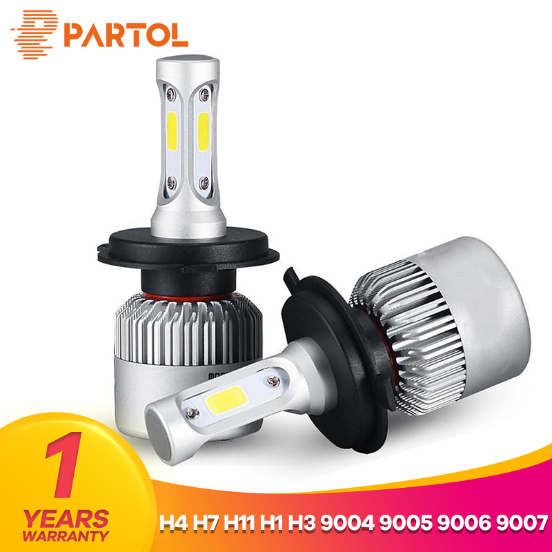 Partol S2 H4 H7 H13 H11 H1 9005 9006 H3 9004 9007 9012 Car LED Headlight Bulbs 72W 8000LM COB LED Headlamp Fog Light 6500K 12V
