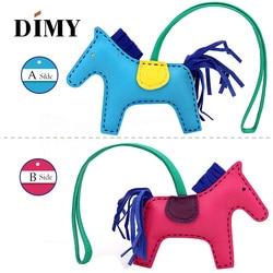 Bolso de mano con diseño de caballo pequeño de cuero para mujer, adorno Bicolor de 2 lados, piel de oveja con flecos, pequeño Pony, bolso colgante de Rodeo