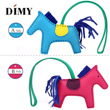 Hand Stitching Mini Leather Horse For Women's Bag Ornament 2-side Bicolor Sheepskin Fringed Petit Pony Rodeo Charm Pendant Bag latest fashion genuine leather rodeo pony charm for women s bag new horse bag charm 2 side bicolor pm 13 10 cheap purse charm