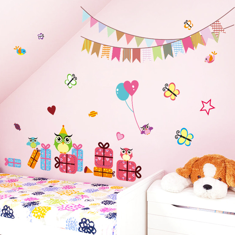 Colorful Cartoon Animals Owls Butterfly Heart Star Baby Children