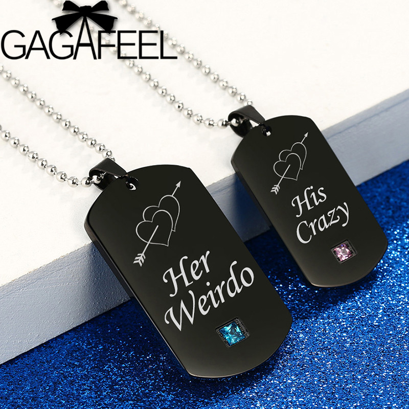 GAGAFEEL Weirdo & Crazy Stainless Steel Couple Necklaces 4 Styles Crystal Black Pendant Tags for Lovers Romantic Jewelry Gift