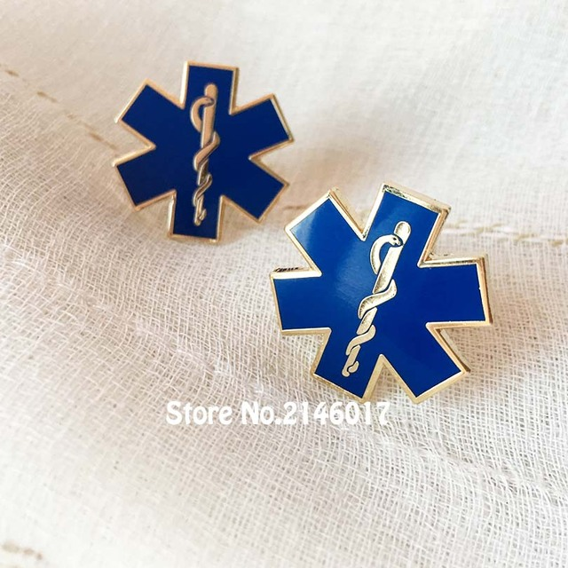 0494f1f17846 Paramedic-Iron Doctor Tie Clips Nursing Ambulance Cuff Links Blue Enamel Ties  Bar Snake Symbol Metal Star of Life Cufflink