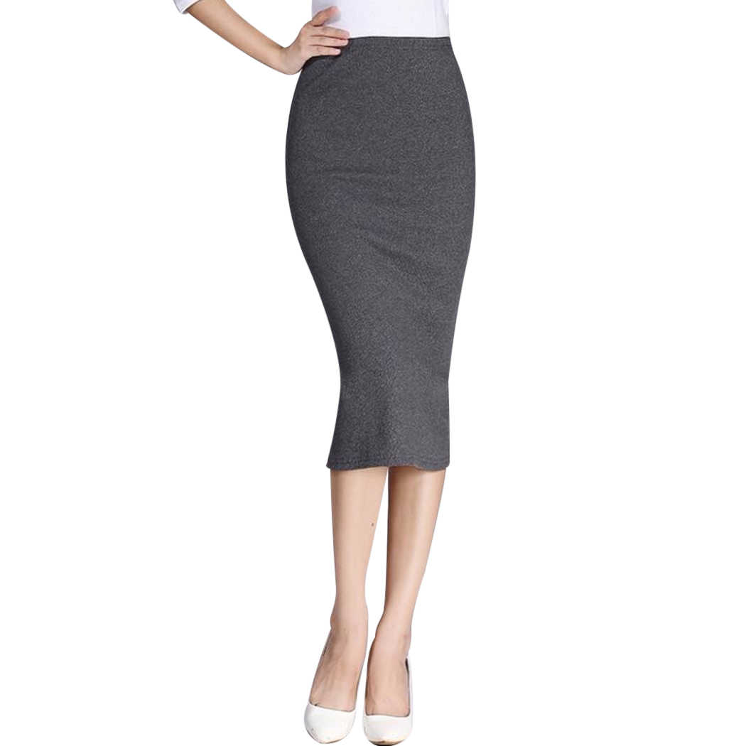 94c97523e ... Autumn New Sexy Slim Hip Package Skirts Women Long Pencil Skirt Winter  Sexy Ladies Chic Wool ...