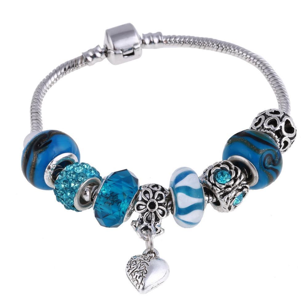 Pink Crystal Charm Silver Bracelets & Bangles for Women  Beads Silver Bracelet Femme Jewelry 10