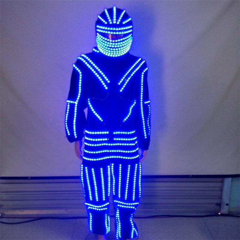 Novo Design LEVOU Luminosa Roupas Traje de Dança Com Led Capacete Brilhante Ternos Robô Roupas Performance de Palco Dancewear