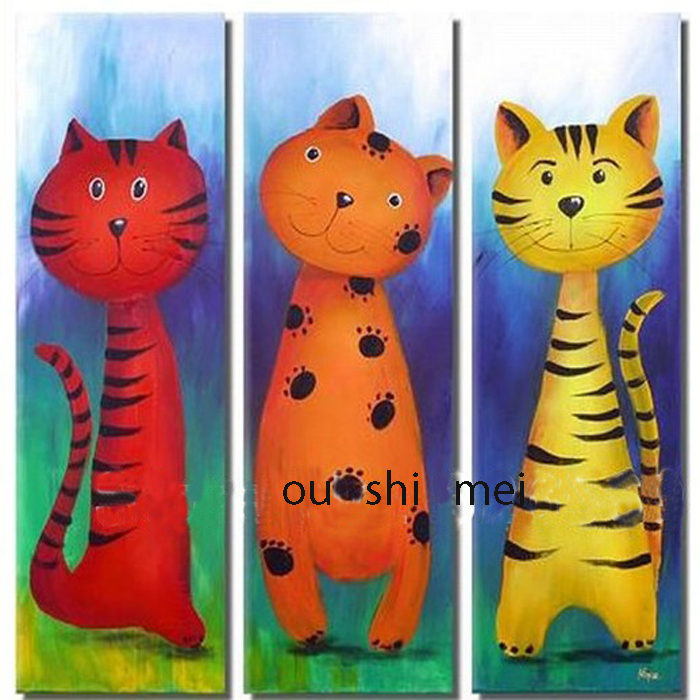 Handmade Paintings 3p Modern Cartoon Pictures On Canvas Oil Painting For Childrens Bedroom Lovely Cat Abstract Picture Craft In Calligraphy