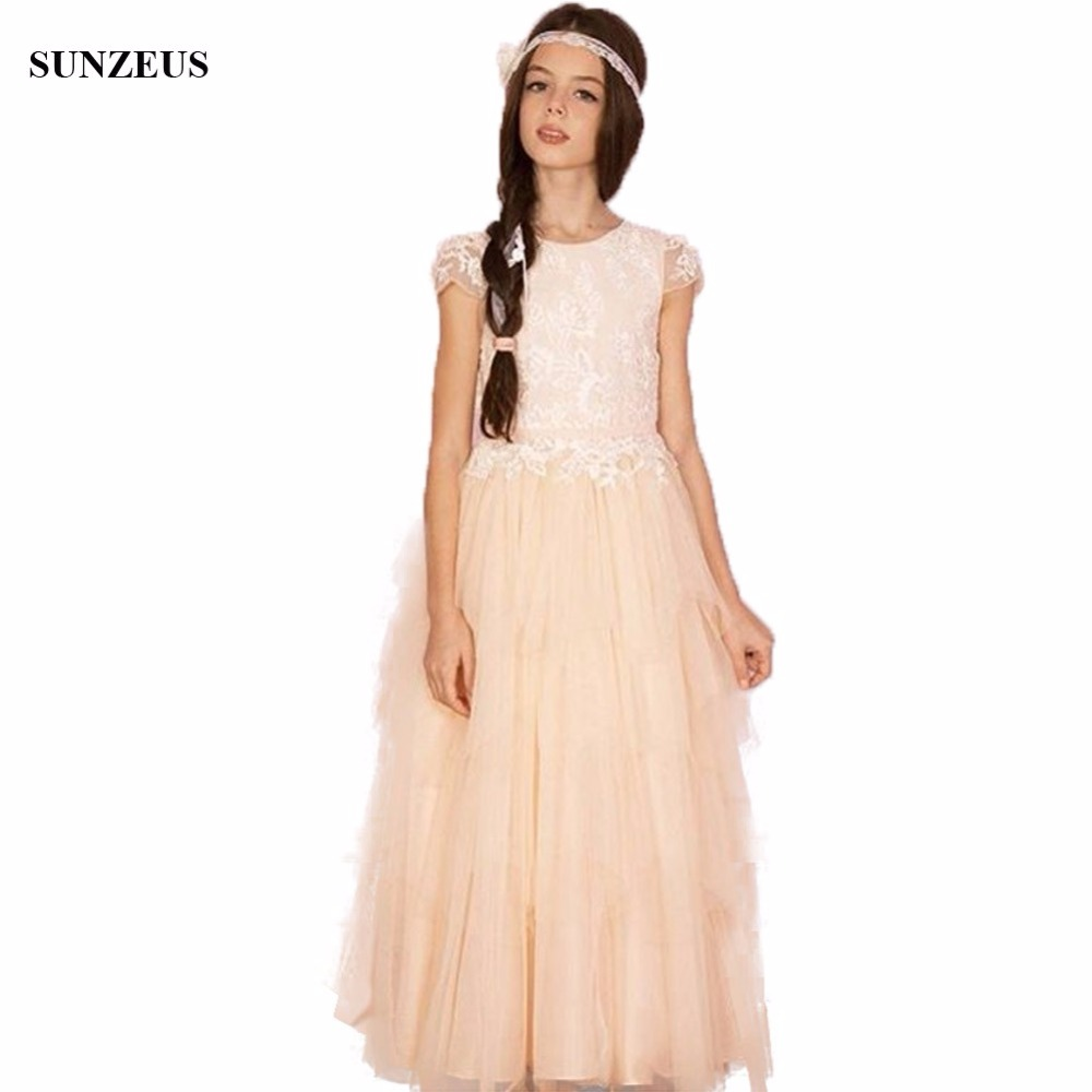A-line Cap Sleeve Lace Flower Girl Dress Long Tulle Champagne ...