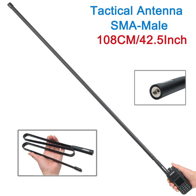 2021 SMA-Male Dual Band VHF UHF 144/430Mhz Foldable Tactical Antenna for Walkie Talkie TYT MD-380 Wouxun KG-UV9D Plus Ham Radio 2