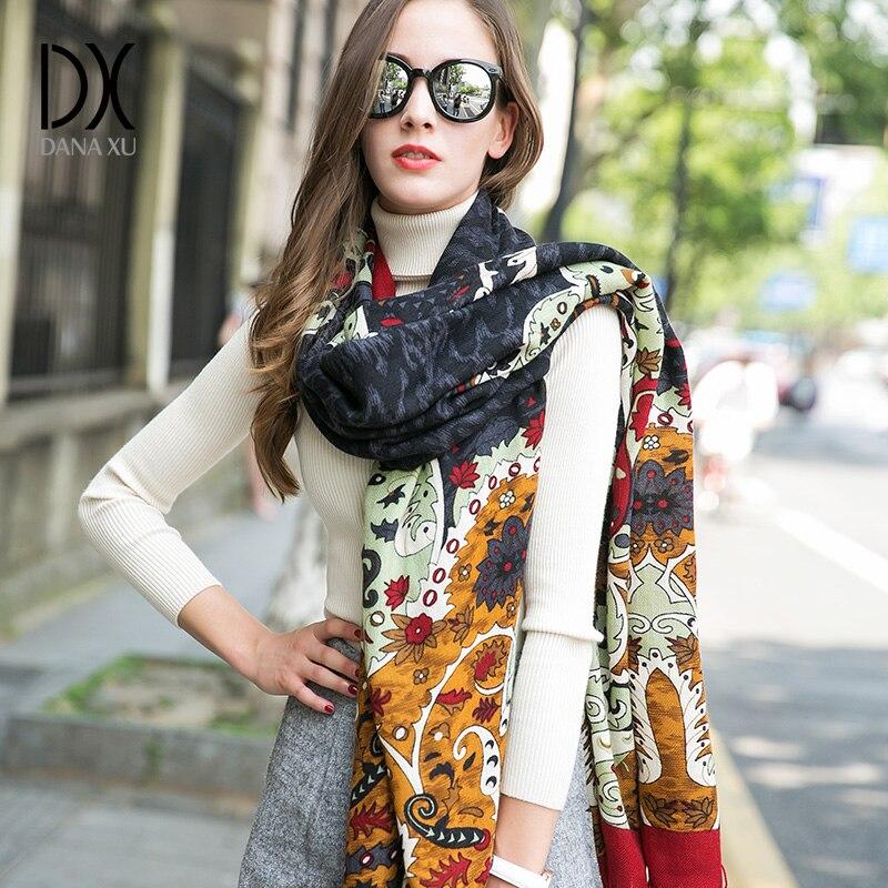 2019 nouveau hiver femmes écharpe de luxe marque 100% Pure laine grande taille Bandana Cape Hijab couverture châles et enveloppes cachemire Pashmina - 4