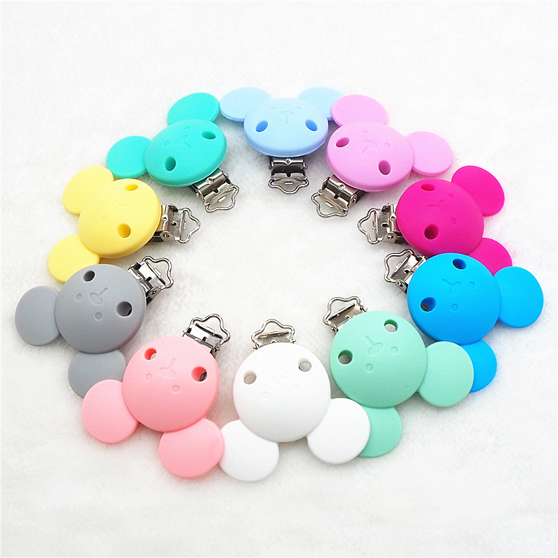 Chenkai 5PCS Silicone Mickey Pacifier Clips DIY Baby Dummy Teether Chain Holder Mouse Animal Nursing Toy Clips Accessories