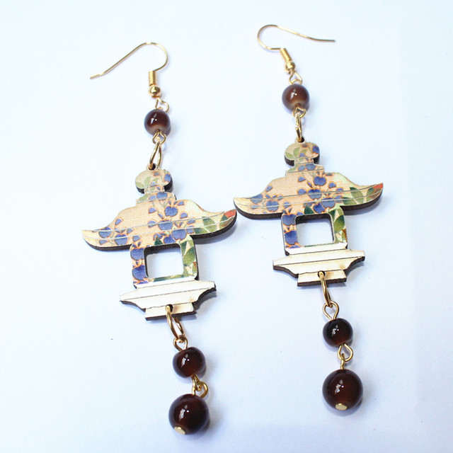 Colorful Carving Wood Pavilion Earrings