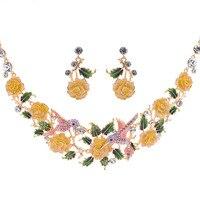 Hummingbird Vogel Schmuck Sets Luxus Gelb Emaille Blume Rose Halskette Ohrringe Set für Frauen Österreichischen Kristall Designer SNA3251