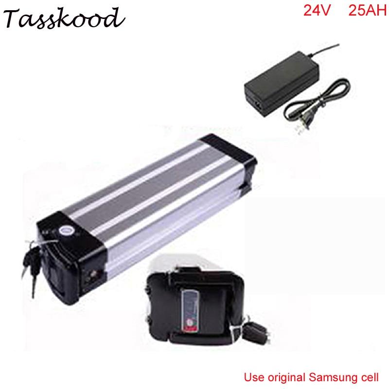 Li ion batterie argent poissons type 24 v 25ah ebike batterie au lithium pour vélo électrique avec chargeur Pour Samsung cellulaire