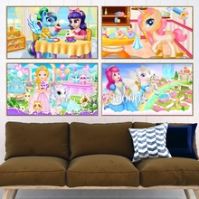 Full Princess Pony Diamond painting Cross Stitch Diamond Embroidery 5D Diy Cartoon Diamond Mosaic Rhinestones Gift Christmas
