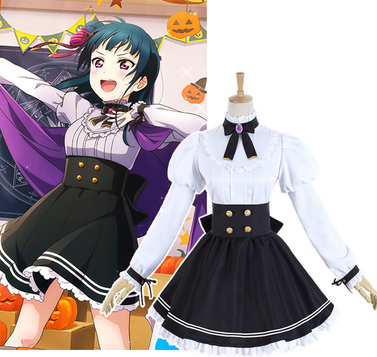 Anime Cosplay Anime Lovelive Sunshine Aqours Tsushima Yoshiko Halloween Unawaken cosplay costume lolita dress school uniform