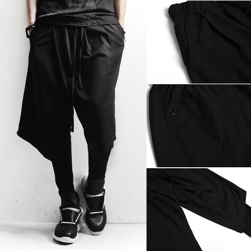 27-44!!Mens clothing dj male culottes costume black boot cut jeans trousers