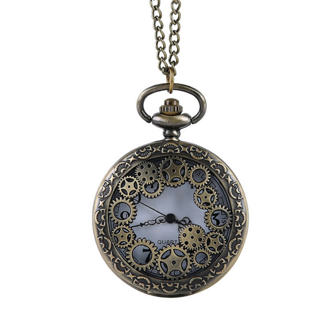 AAA Retro Design Pocket Watch Hollow Gear Fob Watch Vintage Bronze Pocket Watch