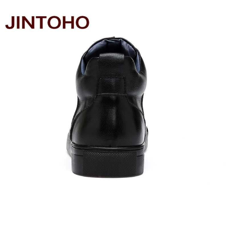 JINTOHO 2018 Casual รองเท้าหนังของแท้รองเท้าหนังผู้ชายชายรองเท้าแฟชั่นฤดูหนาวรองเท้าบู๊ทข้อเท้าชายฤดูหนาวรองเท้าผู้ชาย