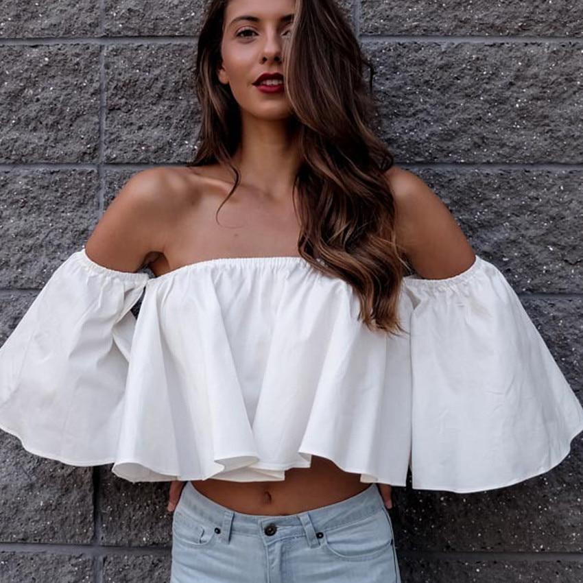Tank Top Women 2018 Women Summer sexy Beachwear Blouse Cold Shoulder Blouse Tops T-Shirt Camisole Feminina SlashNeck Cute Ruffle