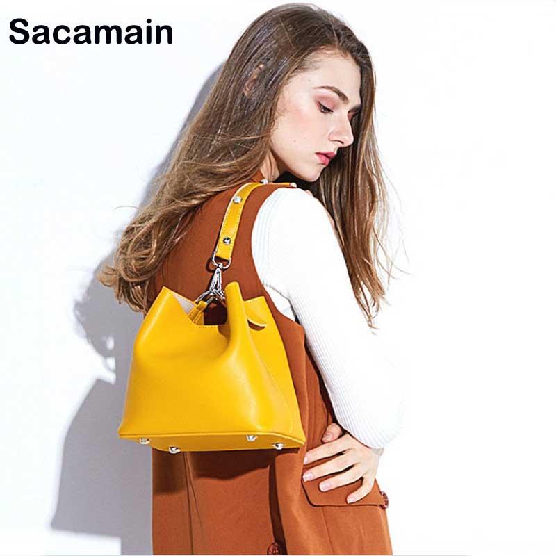 Messenger Sacs brown Femmes Dames Nouvelles De Imitation Cuir black Véritable Sac Seau Designer Main À Pour Bandoulière En Bag yellow Blue Luxe S1SOw