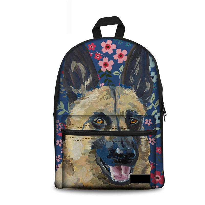 Back Pack Women German Shepherd Flower Backpack Schoolbag For Teenager Girls High Quality Canvas Female Mochila Escolar
