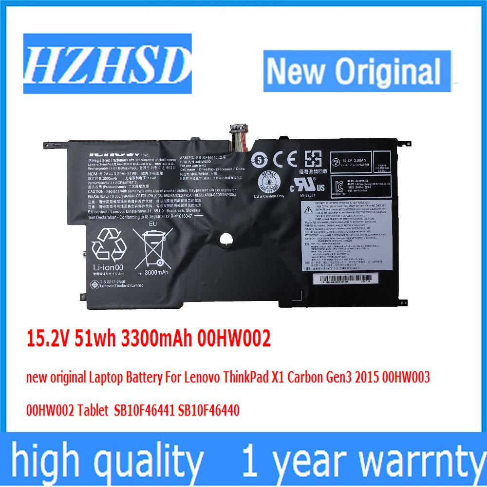 15.2V 51wh 3300mAh 00HW002 00HW003 Original Laptop Battery For Lenovo ThinkPad X1 Carbon Gen3 2015 00HW003 SB10F46441 SB10F46440