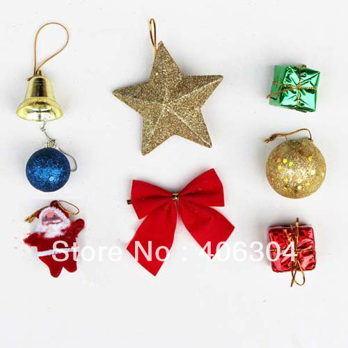 Free Shipping 30sets Lot Christmas Tree Decoration Hanging Item Ornaments Bow