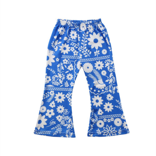 2018 Toddler Kids Baby Girl Flowers Bell-bottoms Long Pants High Waist Stretch Flare Pants Wide Leg Pants Trousers Sunsuit 1-6Y