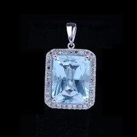 7X9MM Emerald Sky Blue Topaz Natural Diamonds Solid 10k White Gold Fine Pendant