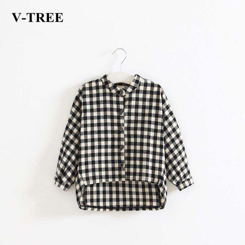 f97d4591 V-TREE Long Sleeve Plaid Boys T Shirt Irregular T-shirts For Girls Cotton  Girls Tops Fashion Children Tees Baby Clothing