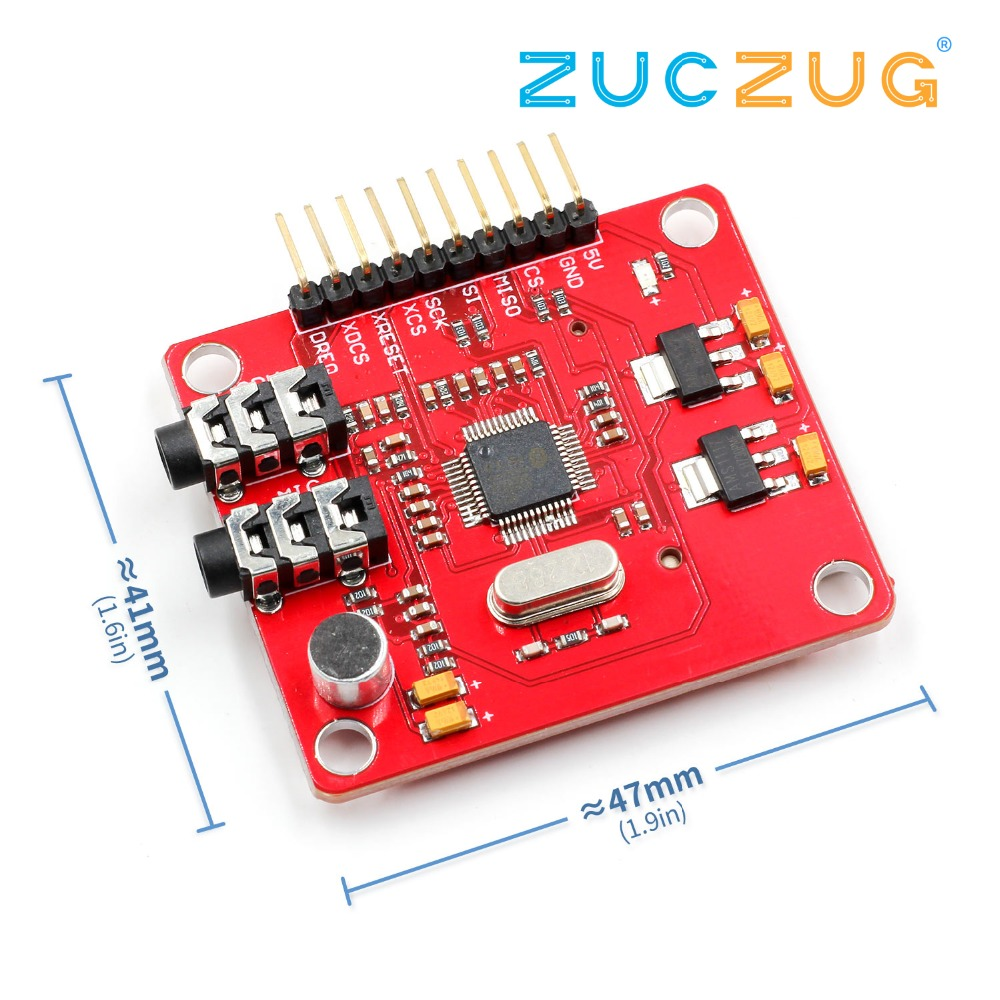 VS1053 VS1053B MP3 Module For Arduino UNO Breakout Board With SD Card Slot VS1053B Ogg Real-time Recording For Arduino UNO One