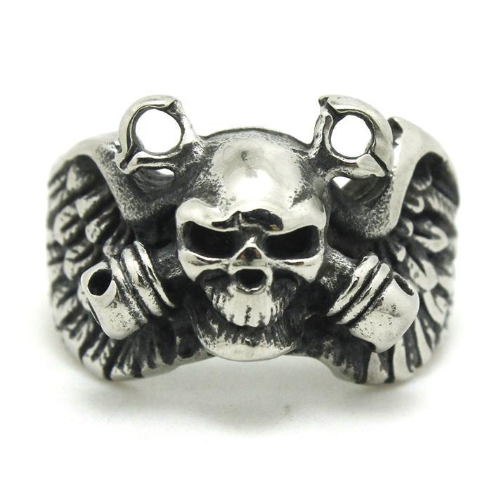 Pánský chlapec 316L z nerezové oceli Punk Gohtic Pirate Eagle Wing Skull Lešticí kroužek Nejnovější