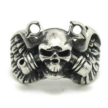 Mens Boy 316L Stainless Steel Punk Gohtic Pirate Eagle Wing Skull Polishing Ring Newest