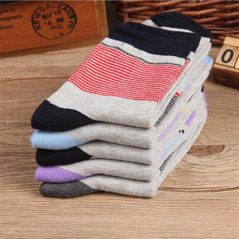 HOT SALE Autumn Cotton Elegant Stripes men casual Socks Men Value Assorted cotton socks 5 Pairs/lot