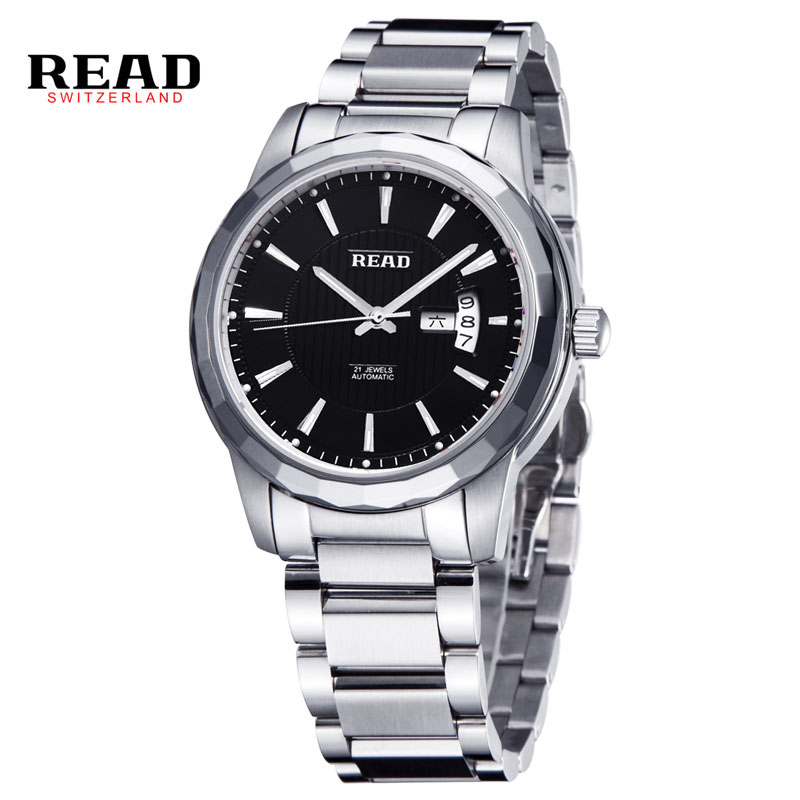 READ Luxury Brand Men Watch Classic Stainless Steel Automatic Self Wind Skeleton Mechanical Watches relogio masculino R8020G shenhua brand black dial skeleton mechanical watch stainless steel strap male fashion clock automatic self wind wrist watches