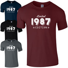 цена на Limited Edition 1987 T-Shirt Born 30th Year Birthday Age Present Funny Mens Gift  Funny Tops Tee New Unisex Funny free shipping