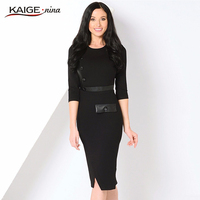Kaige Nina 2017 Contracted 7 Minutes Of Sleeve Splice Style Button Decorative Round Collar Tight Knee