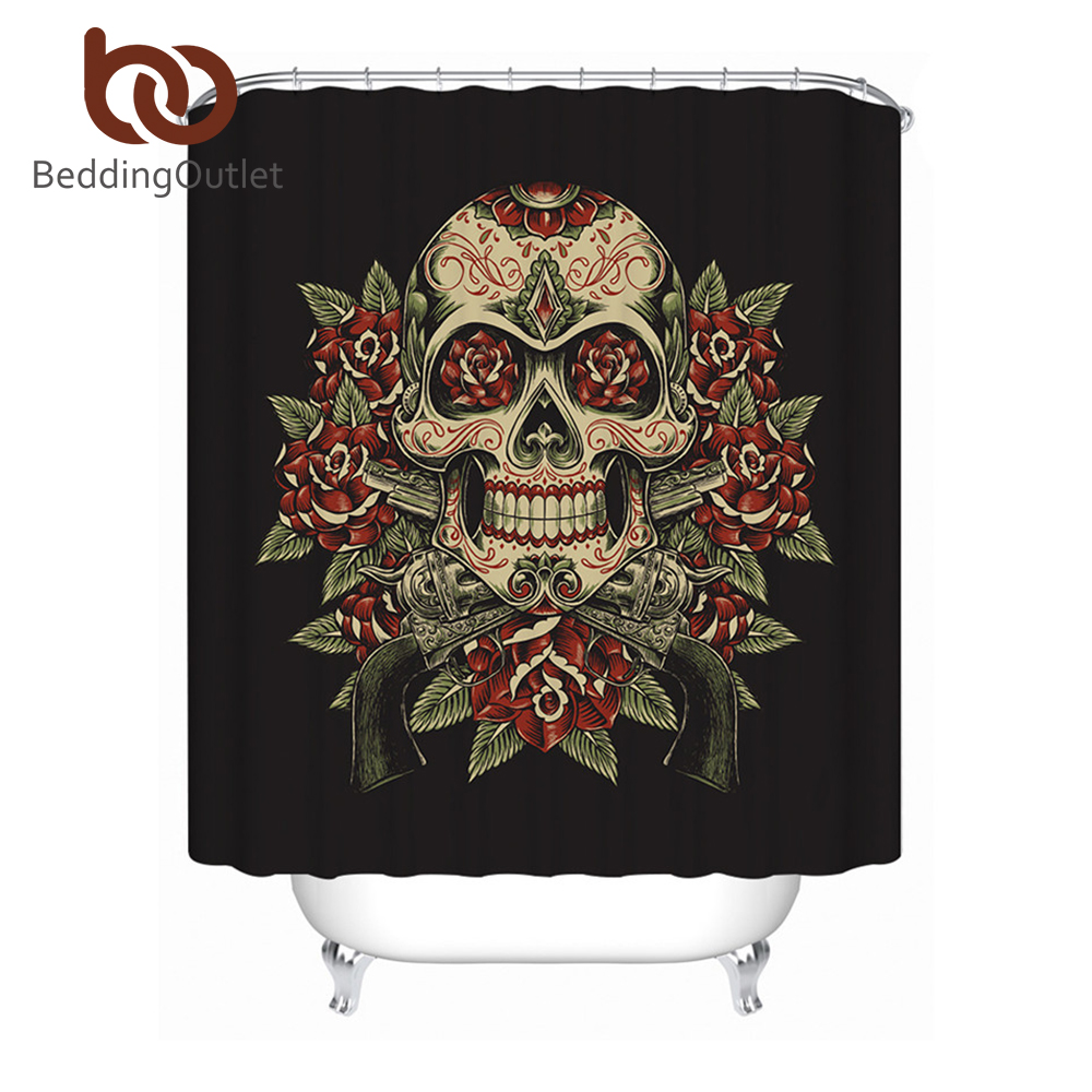 BeddingOutlet Sugar Skull Bathroom Shower Curtain Floral Waterproof ...