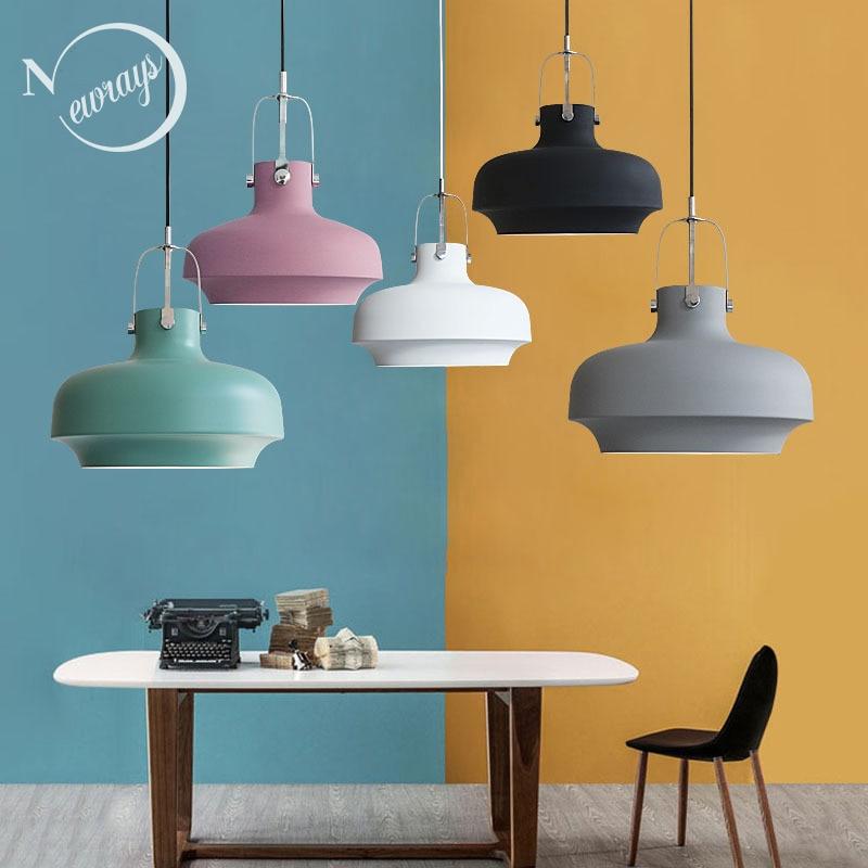 5 Color Modern Loft Nordic Aluminum Hanging Pendant Lamp Lamparas Fixture E27 LED Pendant Lights For Kitchen Bedroom Living Room