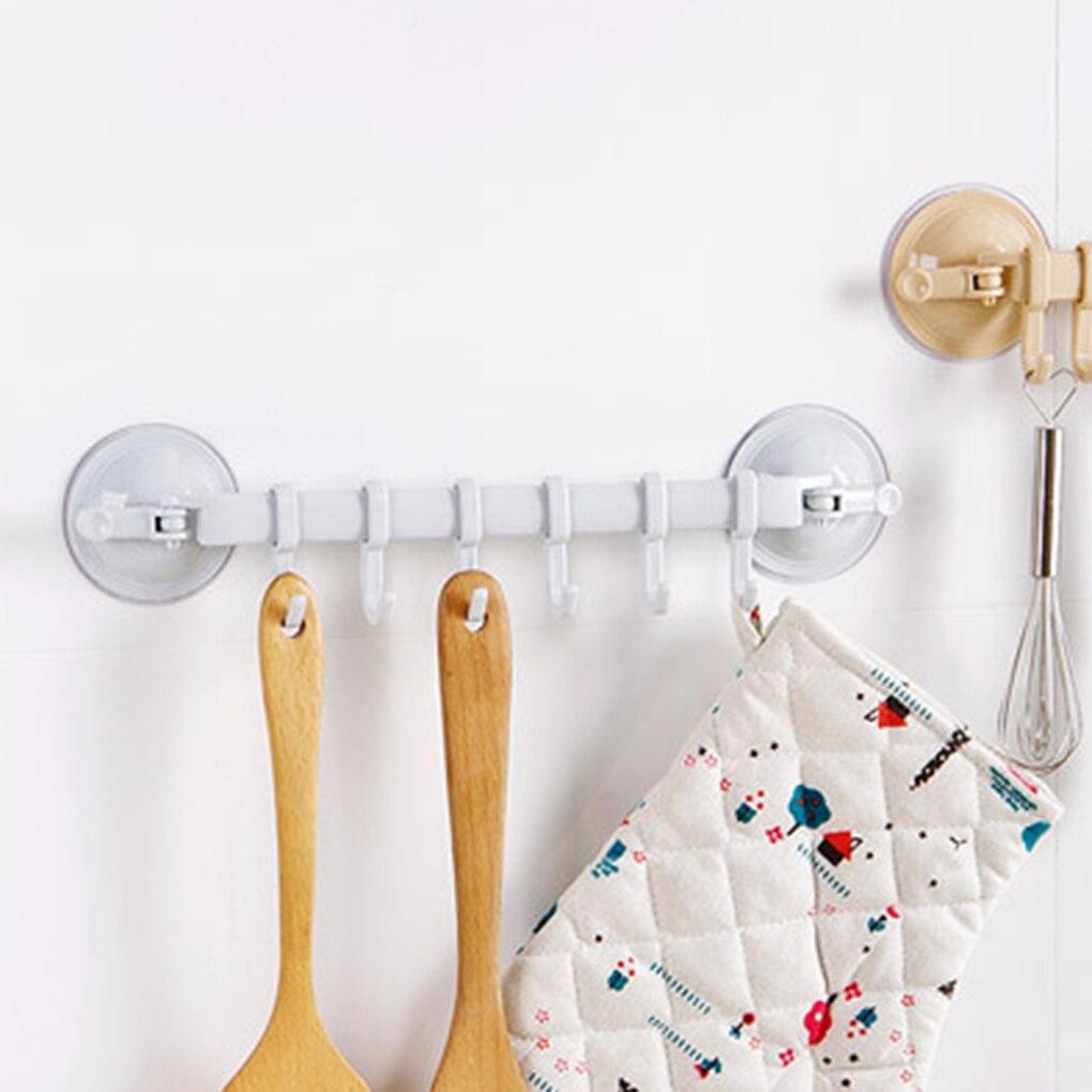 Wall Vacuum Rack Suction Cup 6 Hooks Towel Bathroom Kitchen Holder Sucker Hanger Cabinet Cupboard Hanger Frame Holde Rack