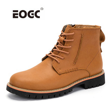 High Quality Natural leather Men Boots Male Casual Shoes Waterproof Lace Up Ankle Outdoor Autumn