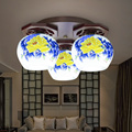 Modern Ceramic Lampshades Chinese Ceiling Light Living Room Creative Artistic Personality Wood Ceiling Lamp