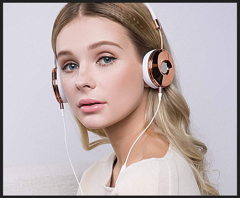 Liboer Headphones Wired On-ear Stereo Headphones for Mobile Phone Best Foldable Headset High Quality Rose Gold Headphone _14