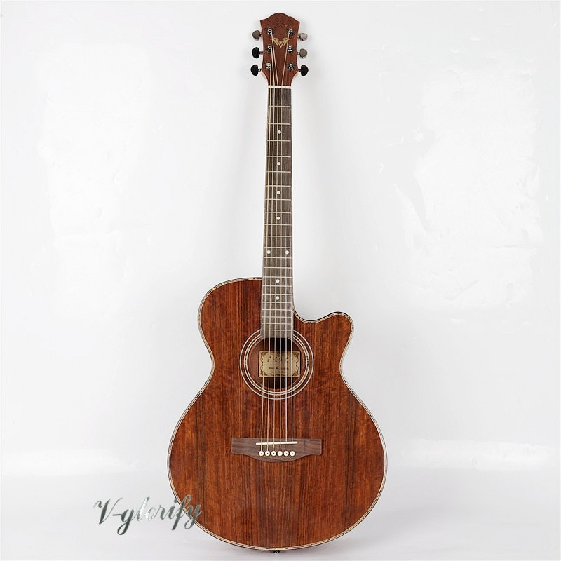 full hickory wood acoustic guitar with electric tuner with celluloid binding free shipping in stock china factory custom guitar machine tuner taiwan production of acoustic guitar machine tuner free shipping