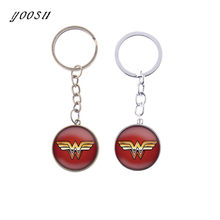 Simple Wonder Women Stock Vector Key Chain on a Red Background Keychain Round Glass Cool Metal Cabochon Jewelry(China)