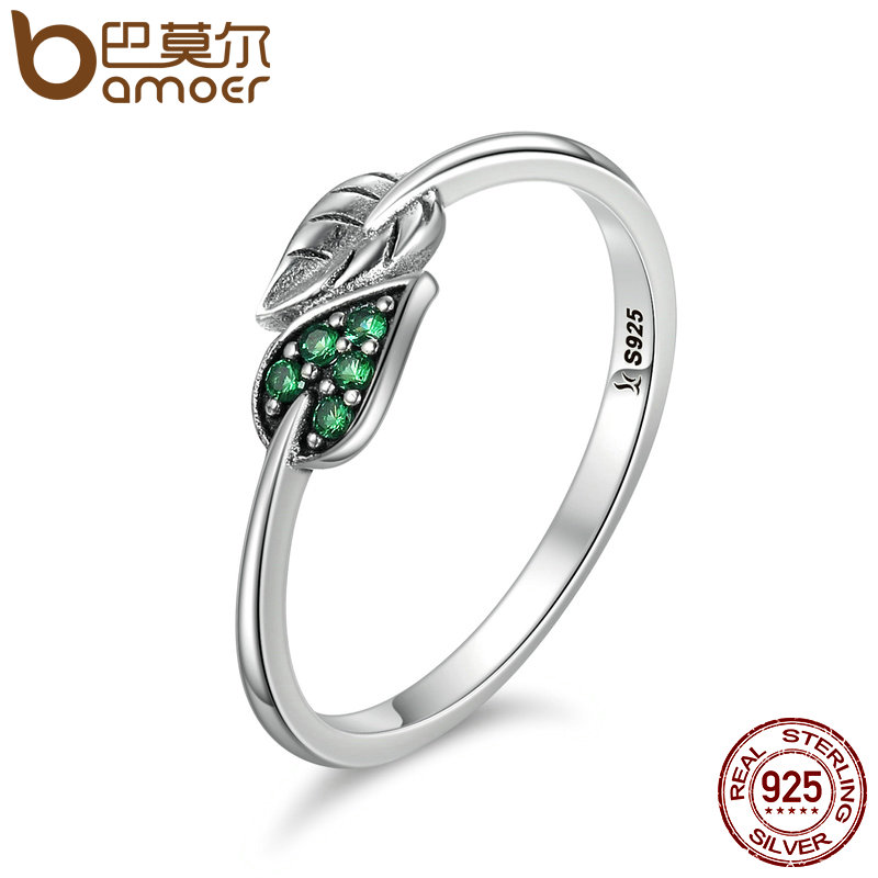 BAMOER 100% 925 Sterling Silver Dancing Leaves Leaf Green Dazzling CZ Finger Rings for Women Engagement Jewelry Anel Gift SCR093 yamamoto kanpo barley young leaves 100% aojiru green powder juice 3g x 44 packs